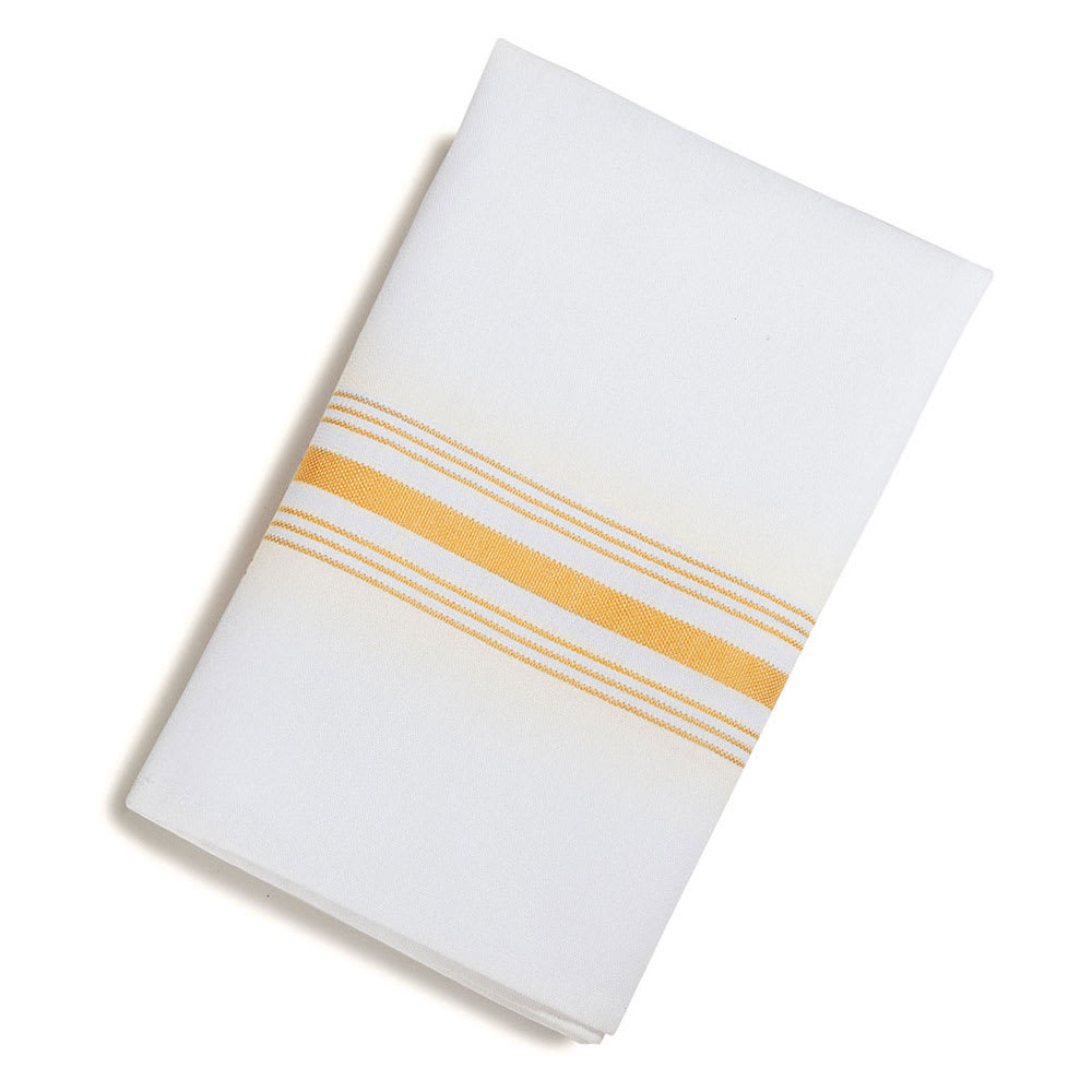 "Snap Drape NAPFS 18"" x 22"" Hemmed Farm Stripe Napkin - Polyester, Gold & White"