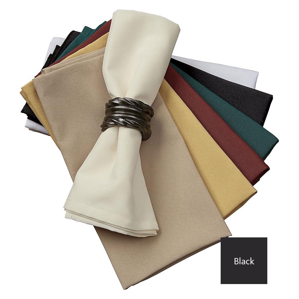 "Snap Drape NAPMKT2020HDK 20"" x 20"" Hemmed Farm Stripe Napkin - Polyester, Black"