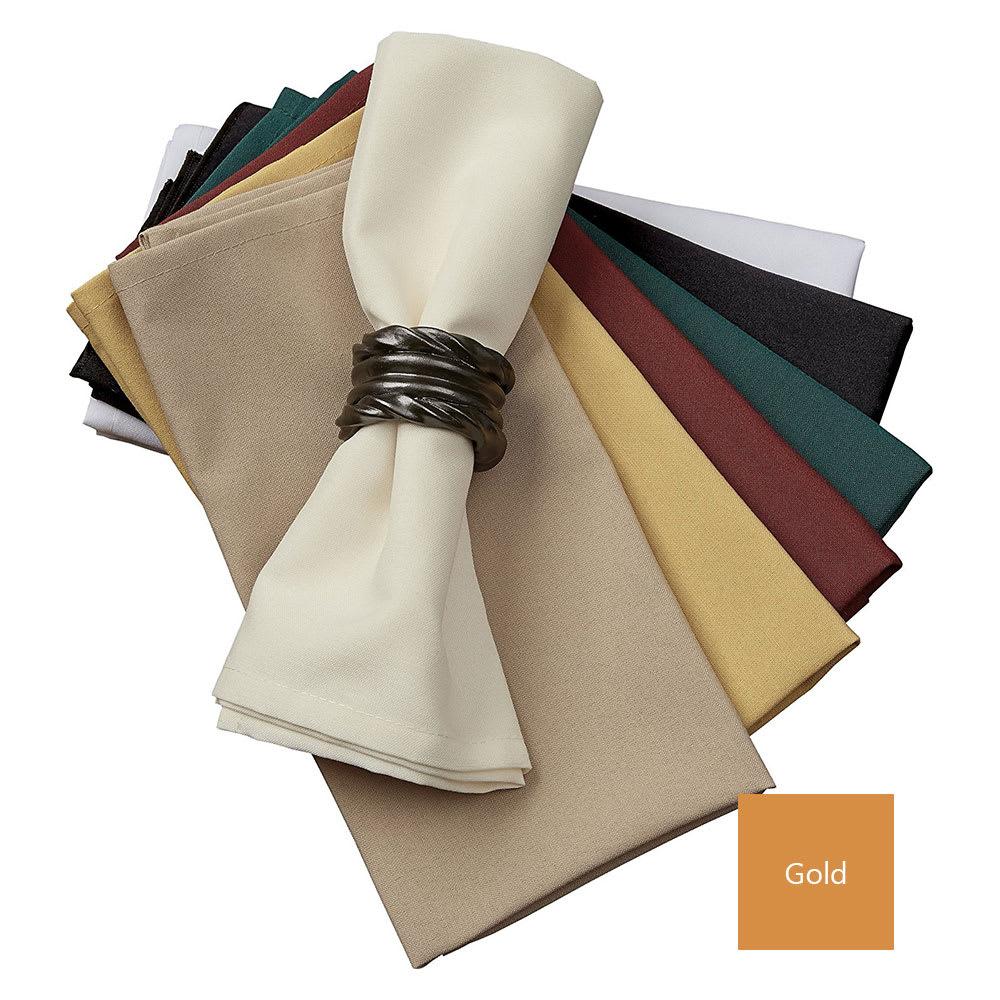 "Snap Drape NAPMKT2020HDK 20"" x 20"" Hemmed Farm Stripe Napkin - Polyester, Gold"