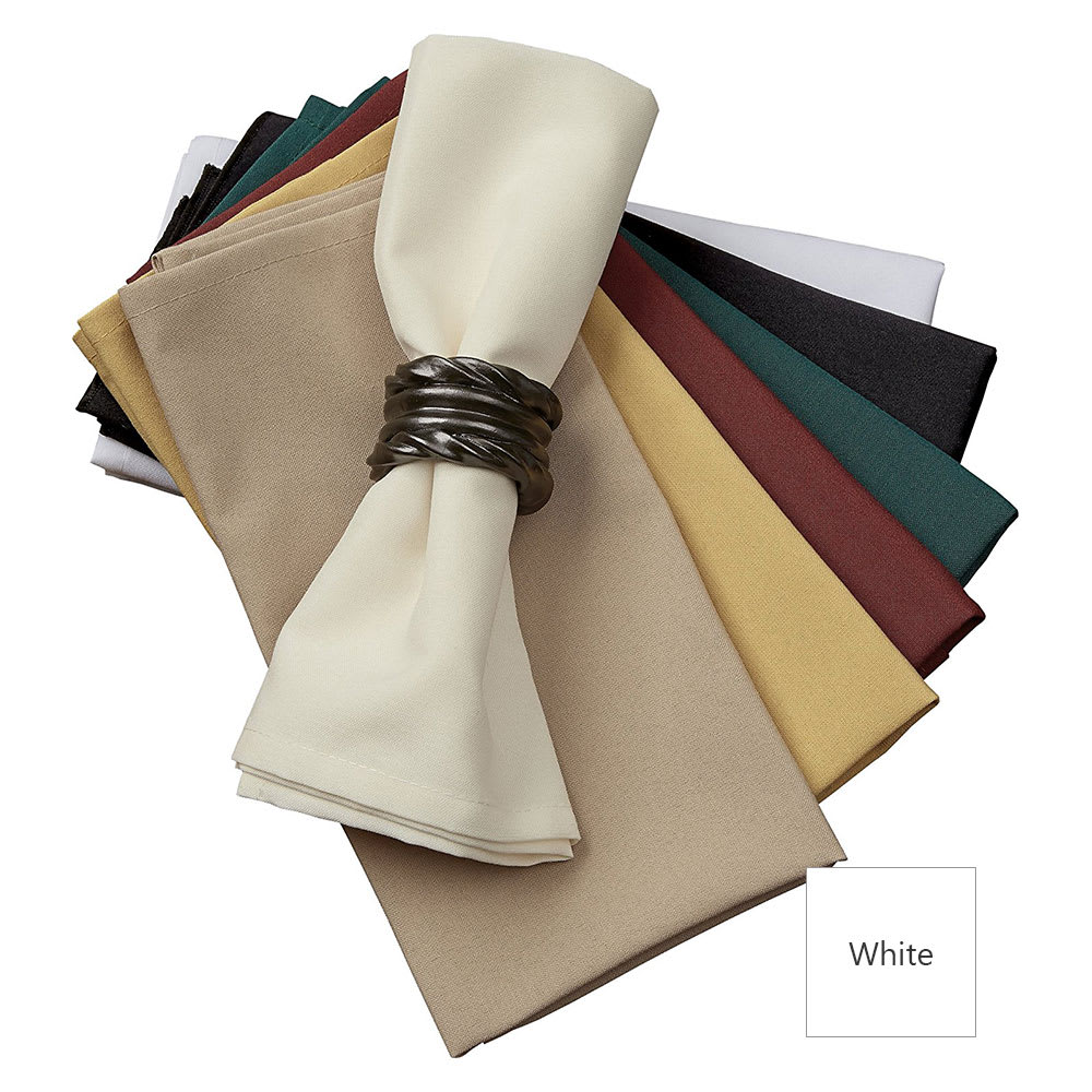 "Snap Drape NAPMKT2020H 20"" x 20"" Hemmed Farm Stripe Napkin - Polyester, White"