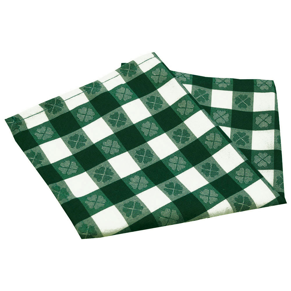"Snap Drape NAPVCH1717OF 17"" Overlocked Visa Checkpoint Napkin - Polyester, Green & White"