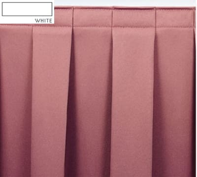 Snap Drape OMN3S17629 WHT Omni 17.5-ft Table Skirt w/ Boxed Pleat, Snap Attachment, White