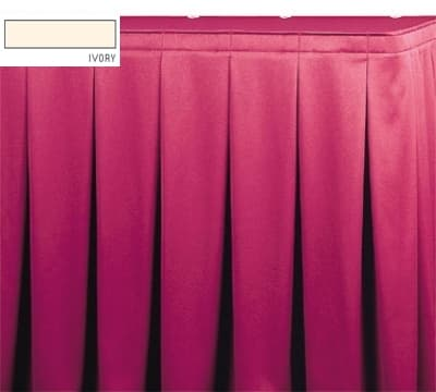 Snap Drape OMN5S21629 IVRY Omni 21.5-ft Table Skirt, Continuous Pleat, Snap Attachment, Ivory