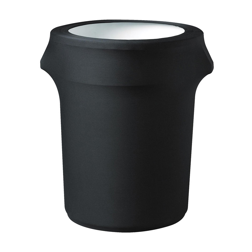 Snap Drape TCCCC32 BK Black, Round Fitted Trash Can Cover, 32 gal