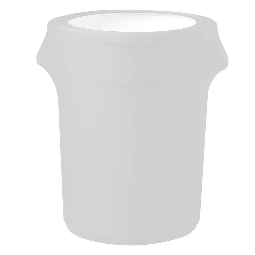 Snap Drape TCCCC55 WHT White, Round Fitted Trash Can Cover, 55 gal