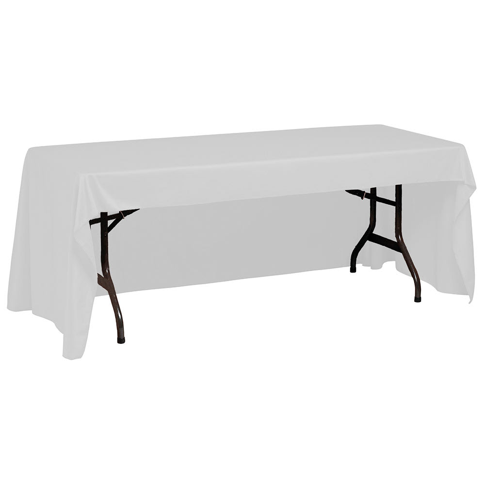 """Snap Drape TCWYN618CC WHT Wyndham Conference-Cut Throw Table Cover, 6 ft x 18"""", White"""