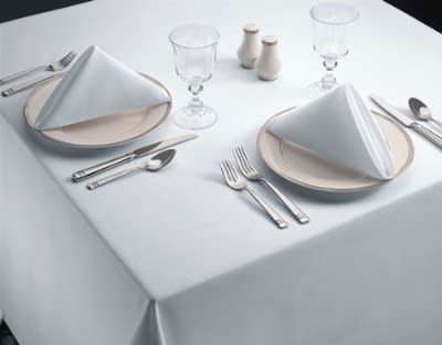 "Snap Drape TSIG52114HWH Signature 52"" x 114"" Hemmed Tablecloth, White, Spun Polyester"