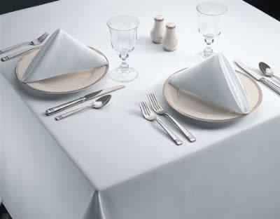 "Snap Drape TSIG5292HWH Signature 52"" x 92"" Hemmed Tablecloth, White, Spun Polyester"