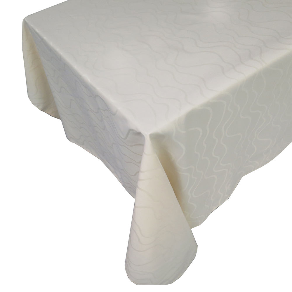 "Snap Drape TWAV9090OMED IVRY Wave 90"" x 90"" Overlocked Tablecloth, Damask Pattern, Ivory"