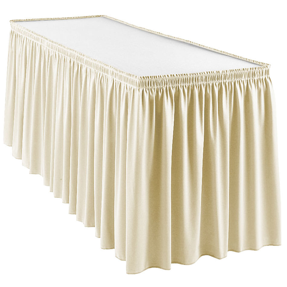 Snap Drape WYN1S17629 CRM Wyndham 17.5-ft Table Skirt, Shirred Pleat, Snap Attachment, Cream
