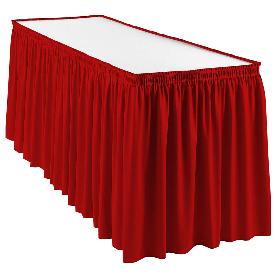 Snap Drape WYN1V1329 RED Wyndham 13 ft Table Skirt, Shirred Pleat, Velcro Attachment, Red
