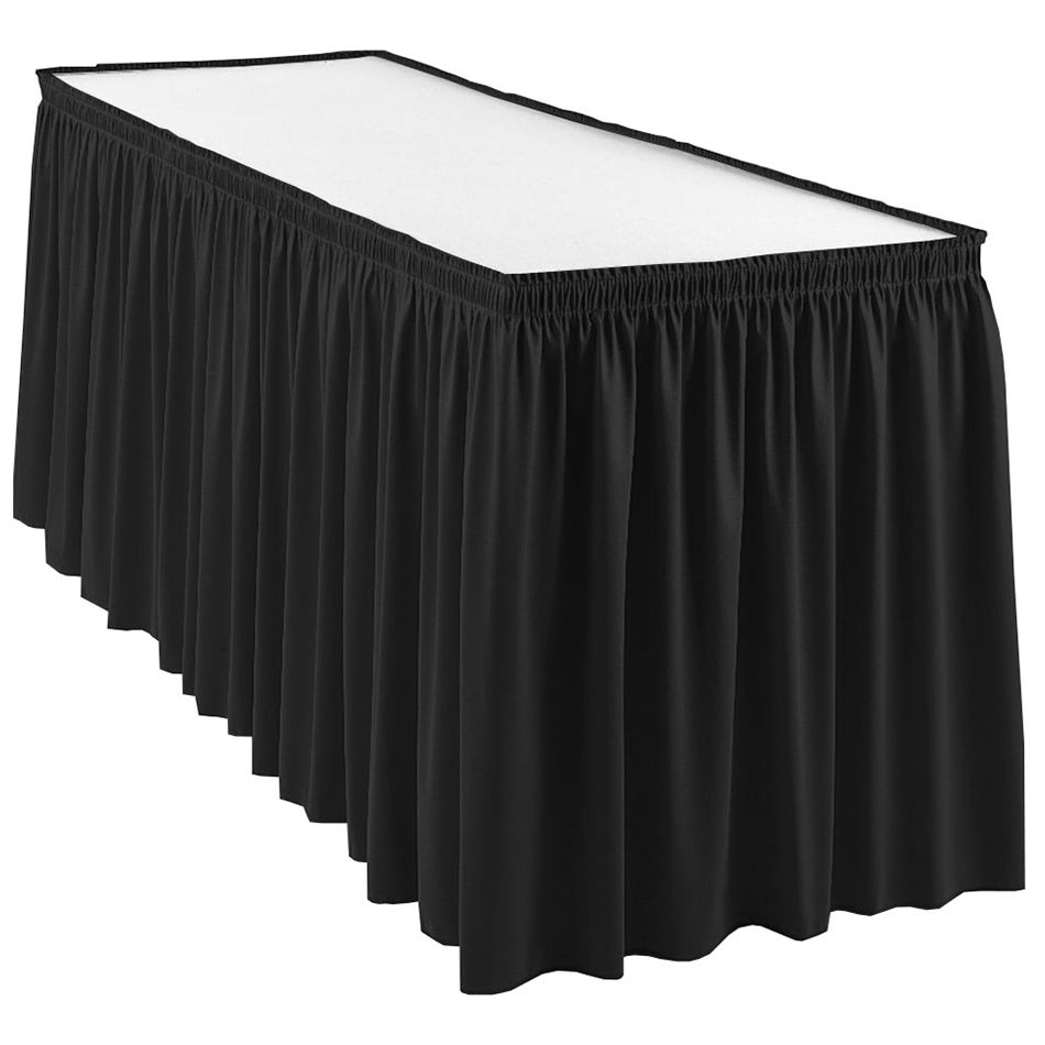 Snap Drape WYN1V21629 BLK Wyndham 21.5-ft Table Skirt, Shirred Pleat, Velcro Attachment, Black