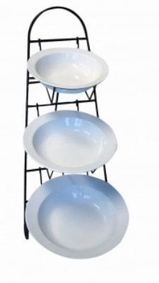 Mayfair 40302 Vola Display Stand w/ 3-White Porcelain Ora Bowls