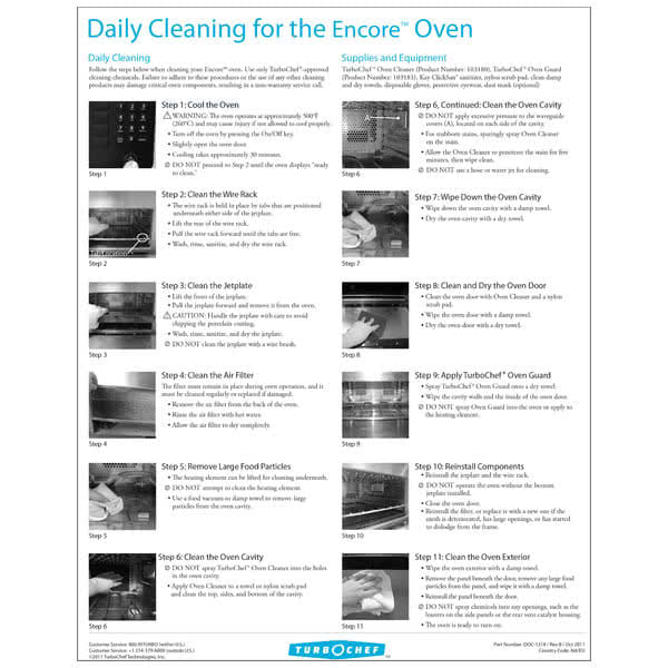 TurboChef DOC-1318 Daily Cleaning Poster For Encore Oven