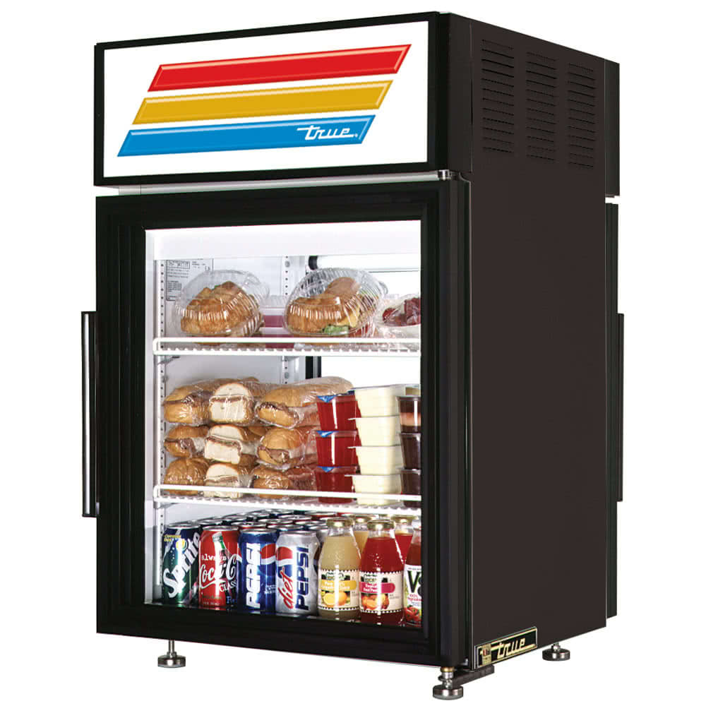 "True GDM-05PT-HC-LD 24"" Countertop Refrigerator w/ Pass-Thru Access - Swing Doors, Black, 115v"