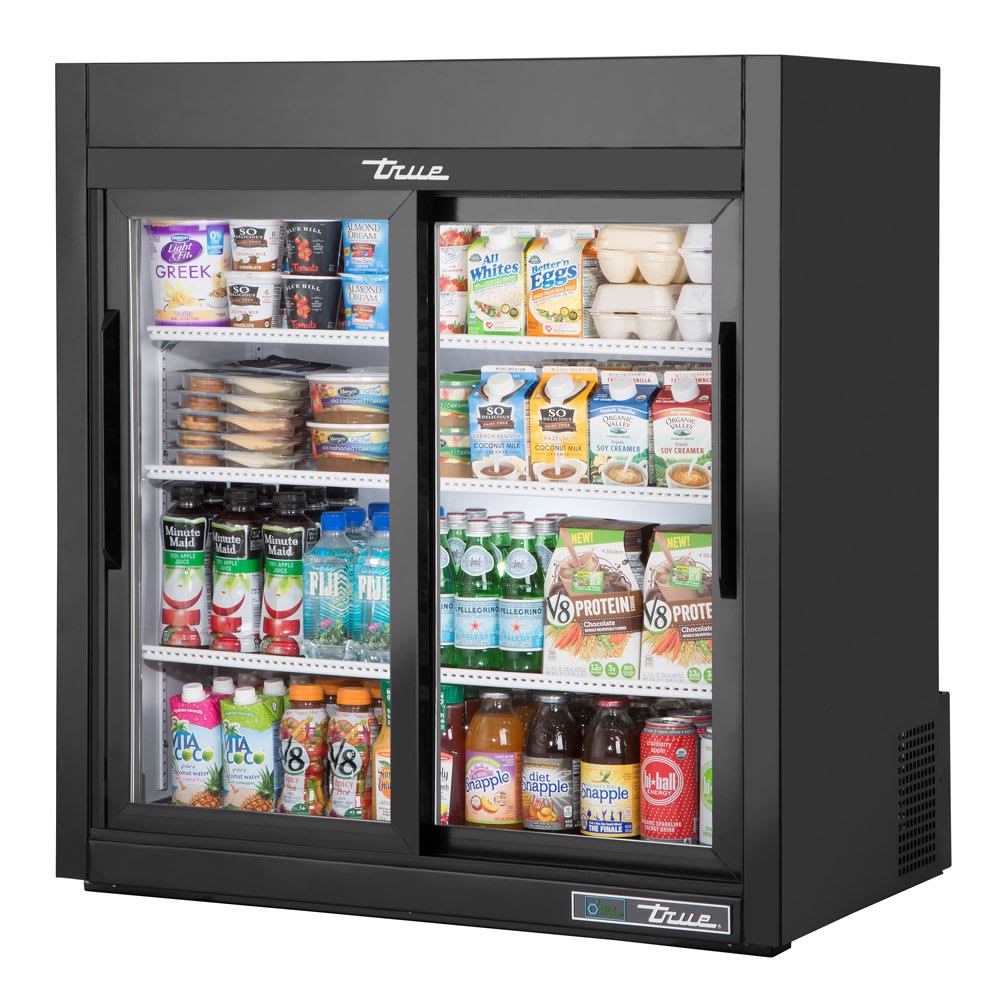"True GDM-09-SQ-HC-LD 36"" Countertop Refrigerator w/ Front Access - Sliding Doors, Black, 115v"