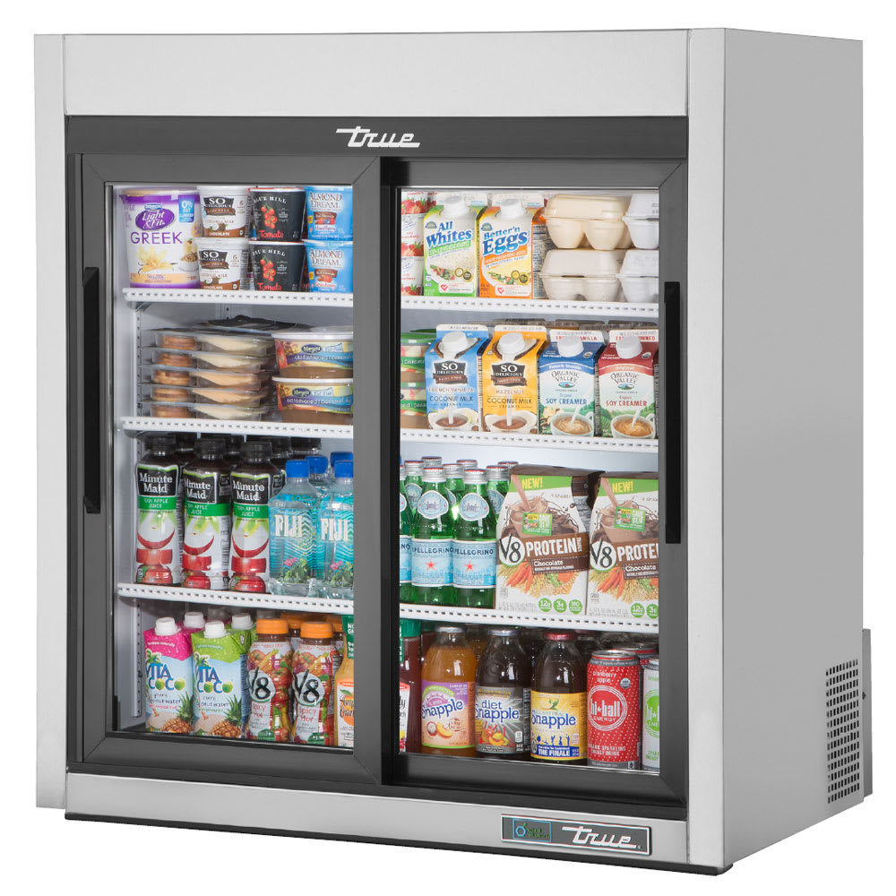 "True GDM-09-SQ-S-HC-LD 36"" Countertop Refrigerator w/ Front Access - Sliding Doors, Stainless, 115v"