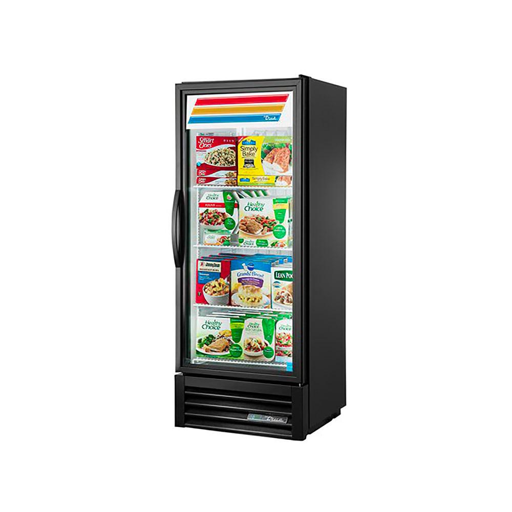 "True GDM-12F-LD 24"" One-Section Display Freezer w/ Swinging Door - Bottom Mount Compressor, Black, 115v"