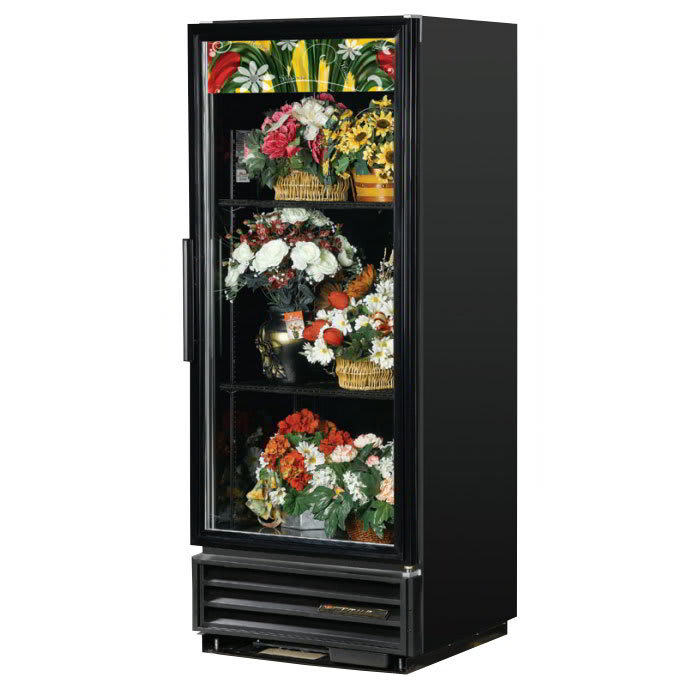 True GDM-12FC-HC-LD 1-Section Floral Cooler w/ Swinging Door - Black, 115v