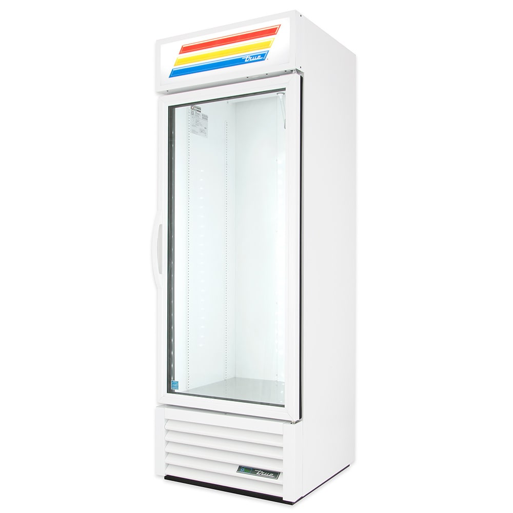 "True GDM-19T-HC~TSL01 27"" One-Section Glass Door Merchandiser w/ Swing Door, White, 115v"