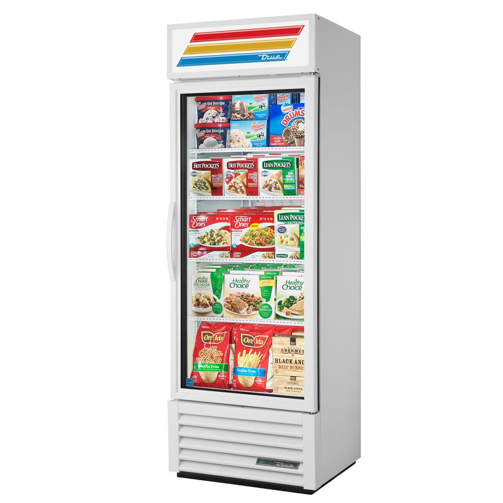 "True GDM-19T-F-HC~TSL01 27"" One-Section Display Freezer w/ Swinging Door - Bottom Mount Compressor, White, 115v"