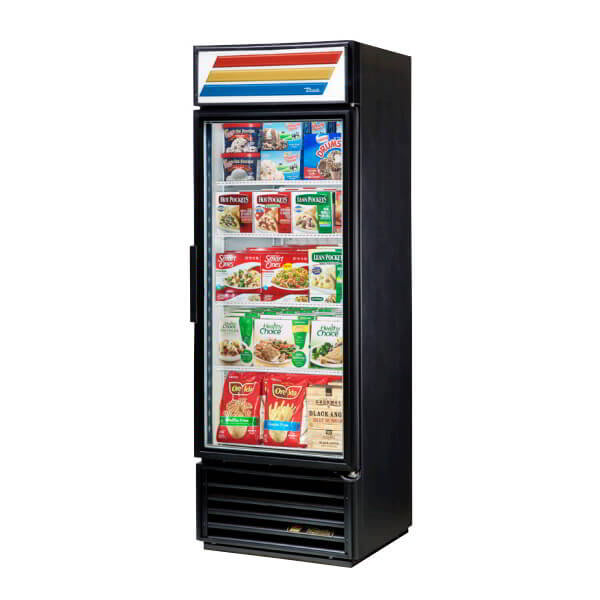 "True GDM-19T-F-HC~TSL01 27"" One-Section Display Freezer w/ Swinging Door - Bottom Mount Compressor, Black, 115v"