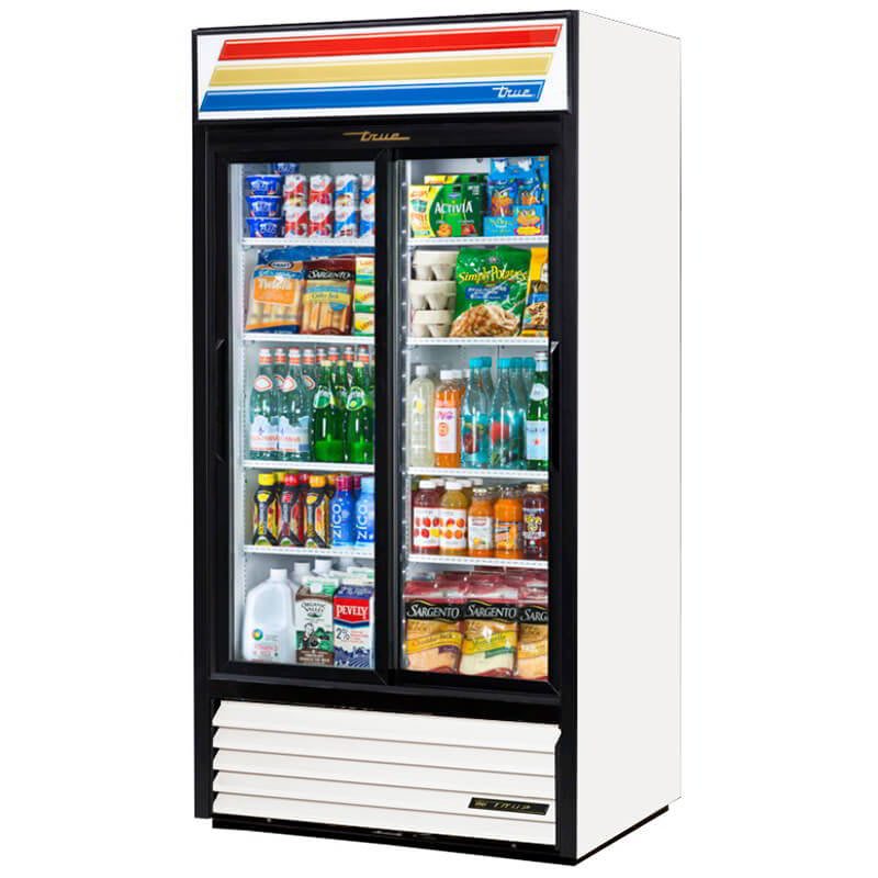 """True GDM-33-HC-LD 39.5"""" Two-Section Glass Door Merchandiser w/ Sliding Doors, White, 115v"""