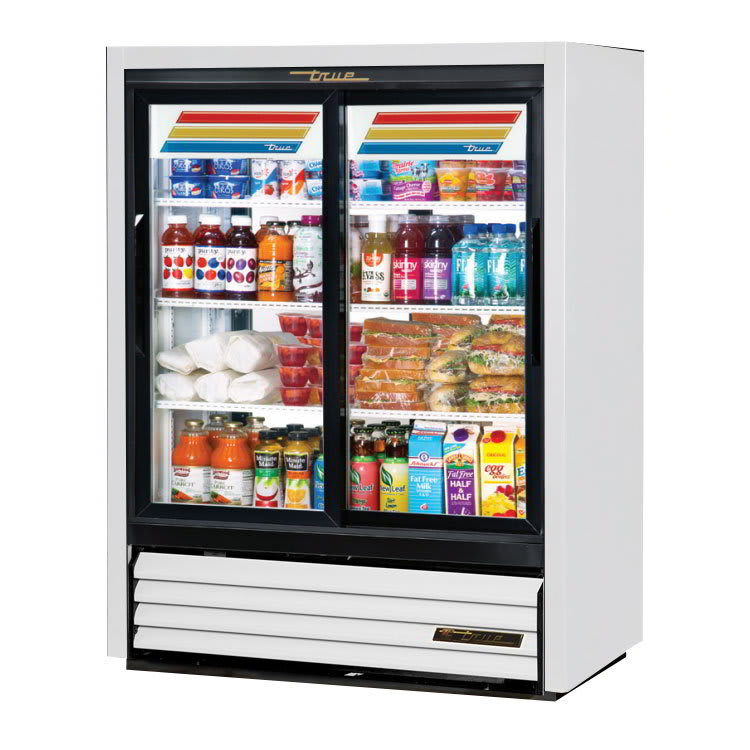 "True GDM-33CPT-54-LD WHT 39.5"" Two-Section Glass Door Merchandiser w/ Sliding Doors, White, 115v"