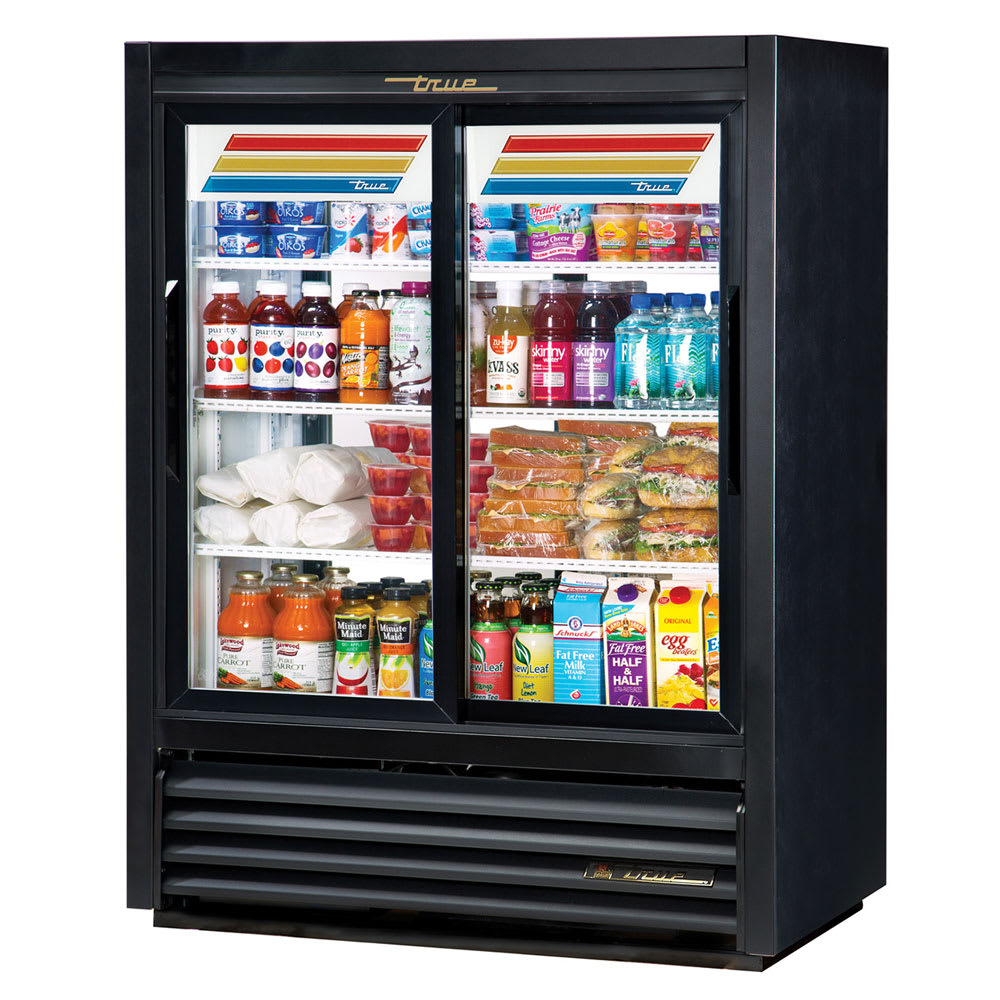 "True GDM-33CPT-54-LD 39.5"" Two-Section Glass Door Merchandiser w/ Sliding Doors, Black, 115v"