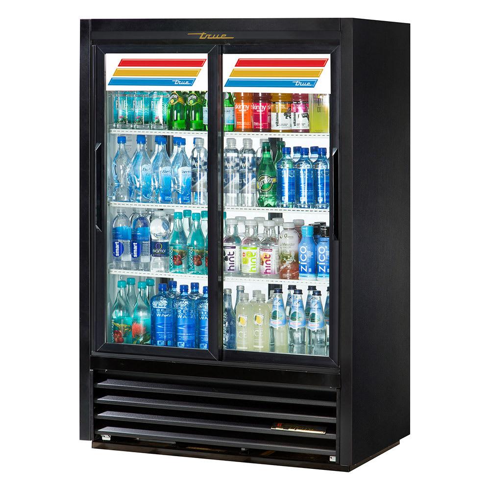 "True GDM-33CPT-LD 39.5"" Glass Door Merchandiser - Pass-thru w/ Sliding Doors, Black, 115V"