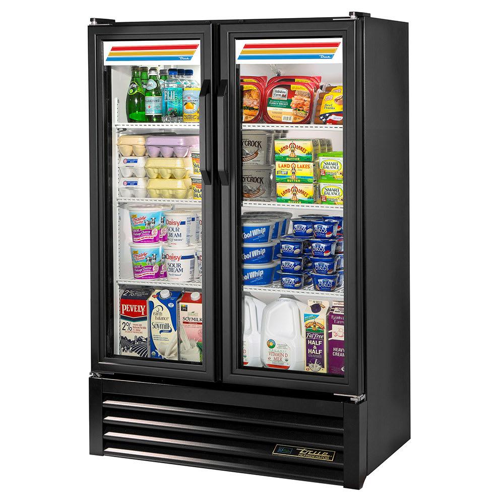 """True GDM-36SL-HC-LD 36"""" Two-Section Glass Door Merchandiser w/ Swing Doors, Black, 115v"""