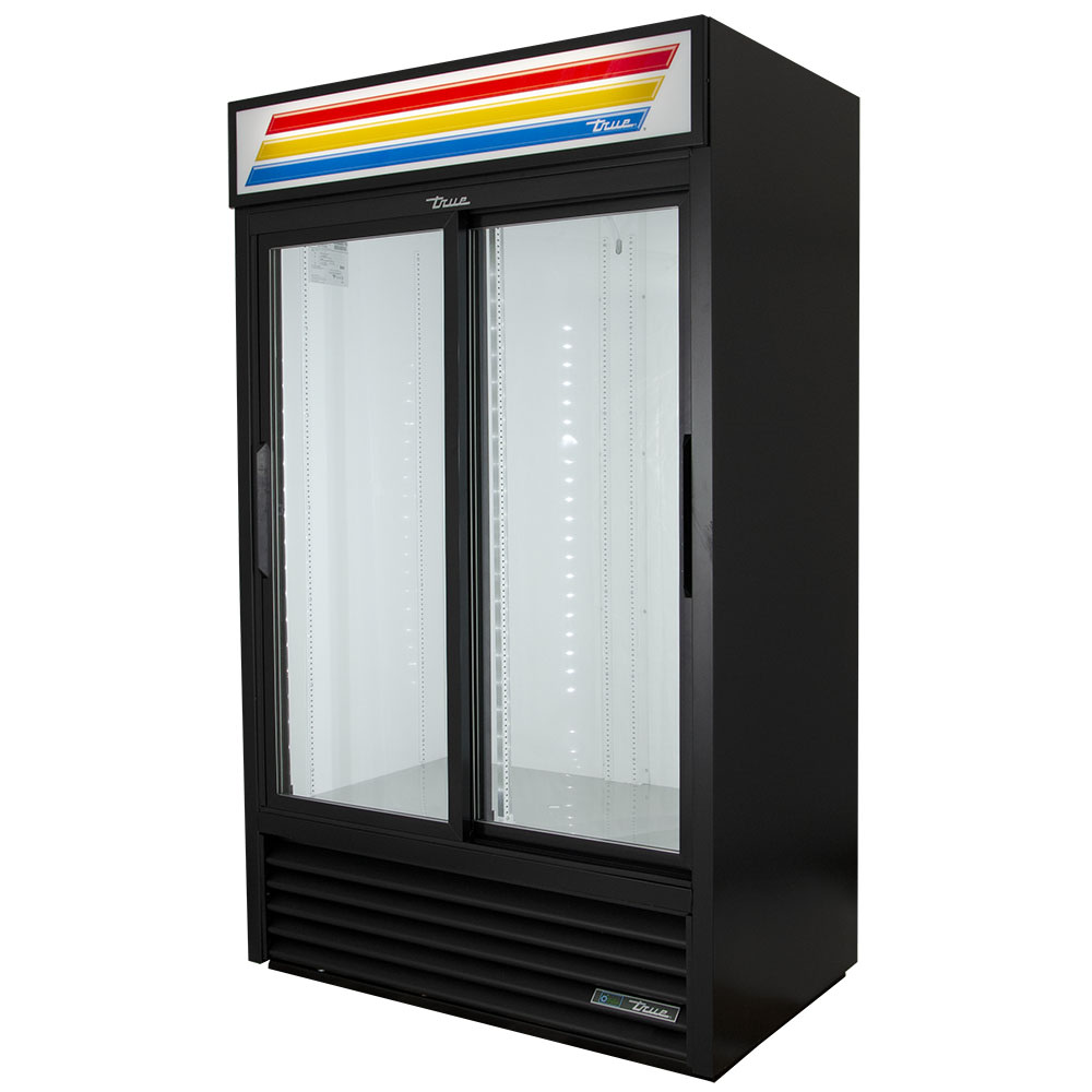 "True GDM-41-HC-LD 47"" Two-section Glass Door Merchandiser w/ Sliding Doors, Black, 115V"