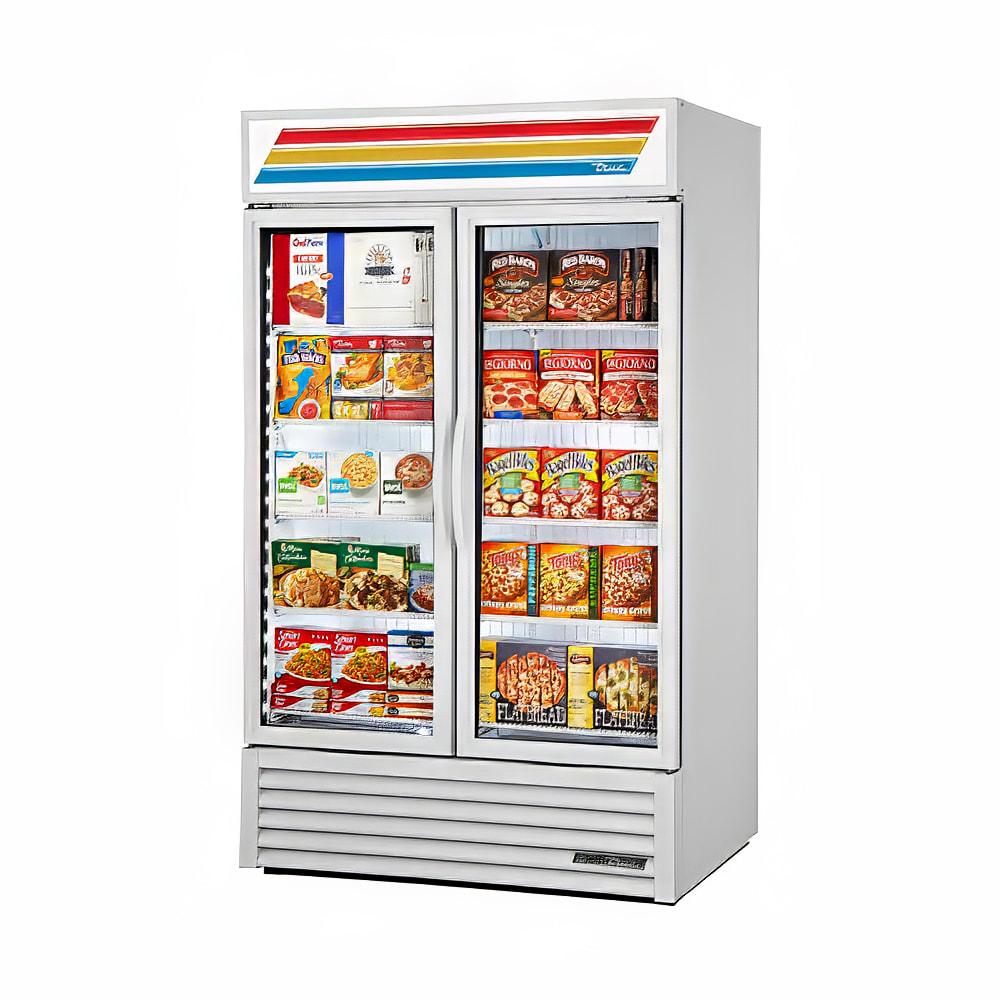 "True GDM-43F-HC~TSL01 47"" Two-Section Display Freezer w/ Swinging Doors - Bottom Mount Compressor, White, 115v"