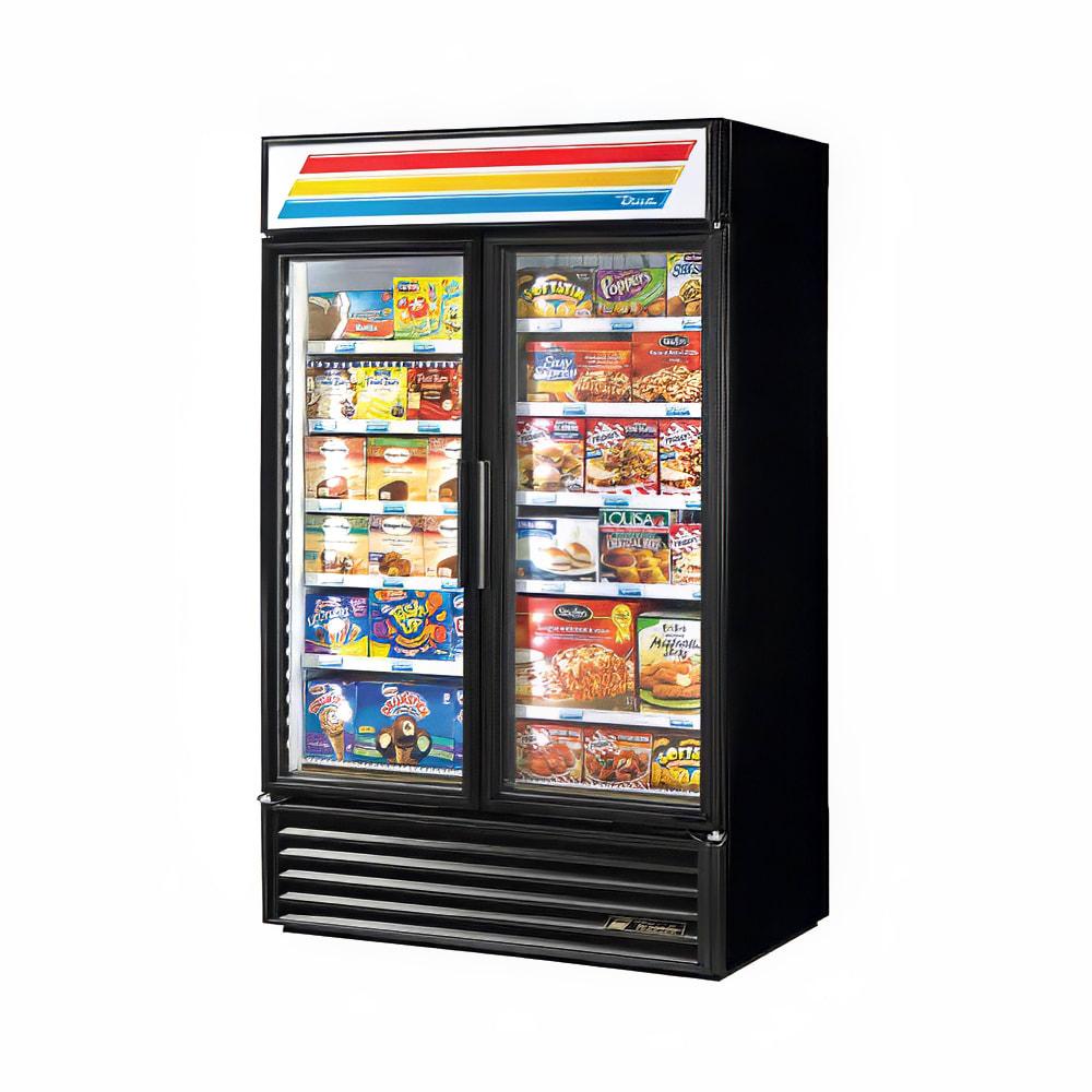 "True GDM-43F-HC~TSL01 27"" Two-Section Display Freezer w/ Swinging Doors - Bottom Mount Compressor, Black, 115v"