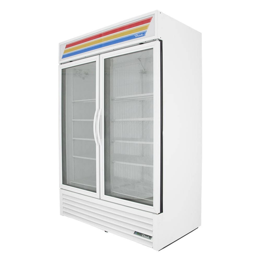 "True GDM-49F-HC~TSL01 54"" Two-Section Display Freezer w/ Swinging Doors - Bottom Mount Compressor, White, 115v"