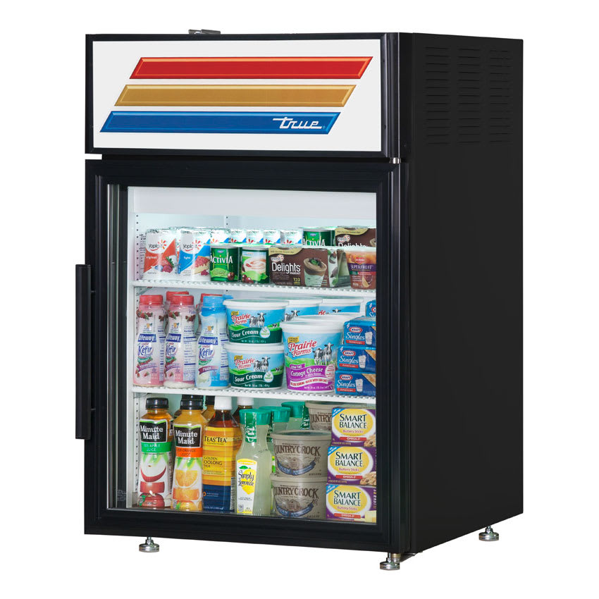 "True GDM-05-HC-LD 24"" Countertop Refrigerator w/ Front Access - Swing Door, Black, 115v"