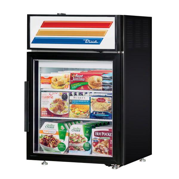 """True GDM-5F-LD 24"""" Countertop Freezer Merchandiser - (1) Door, (2) Shelf, 5 cu ft, LED, Black"""