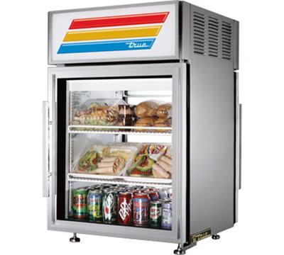 """True GDM-05PT-S-HC-LD 24"""" Countertop Refrigerator w/ Pass Thru Access - Swing Door, Stainless, 115v"""