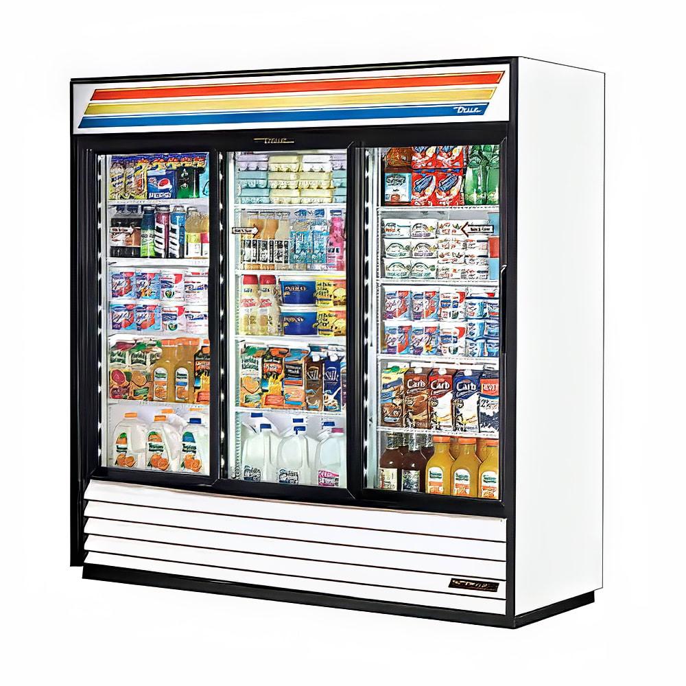 """True GDM-69-HC-LD 78"""" Three-section Glass Door Merchandiser w/ Sliding Doors, White, 115V"""