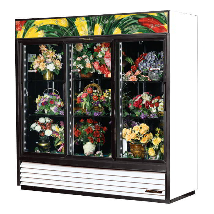True GDM-69FC-HC-LD 3-Section Floral Cooler w/ Sliding Door - White, 115v