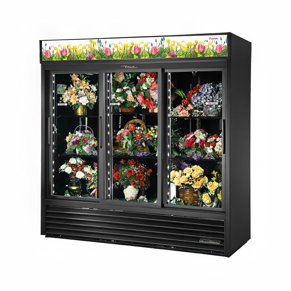 True GDM-69FC-HC-LD 3 Section Floral Cooler w/ Sliding Door - Black, 115v