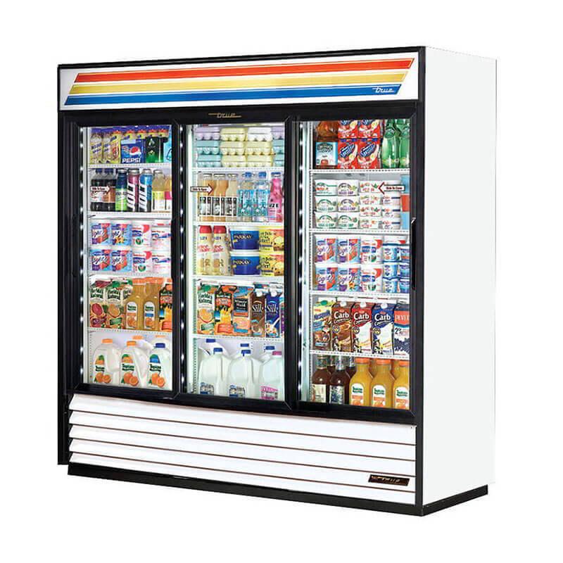 True GDM-69 3-Section Sliding Glass Door Merchandiser, Cherry, 69-cu ft