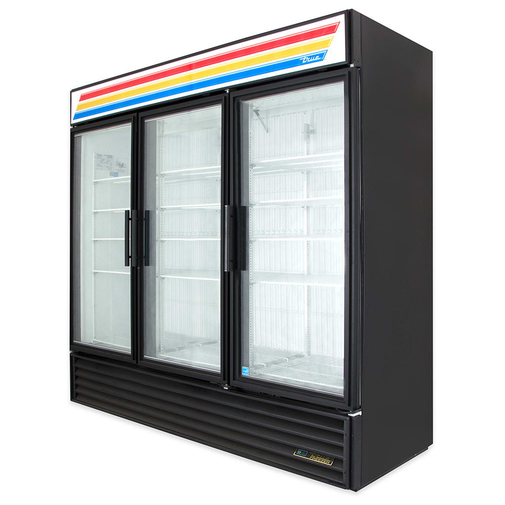 "True GDM-72F-HC~TSL01 78"" Three-Section Display Freezer w/ Swinging Doors - Bottom Mount Compressor, Black"