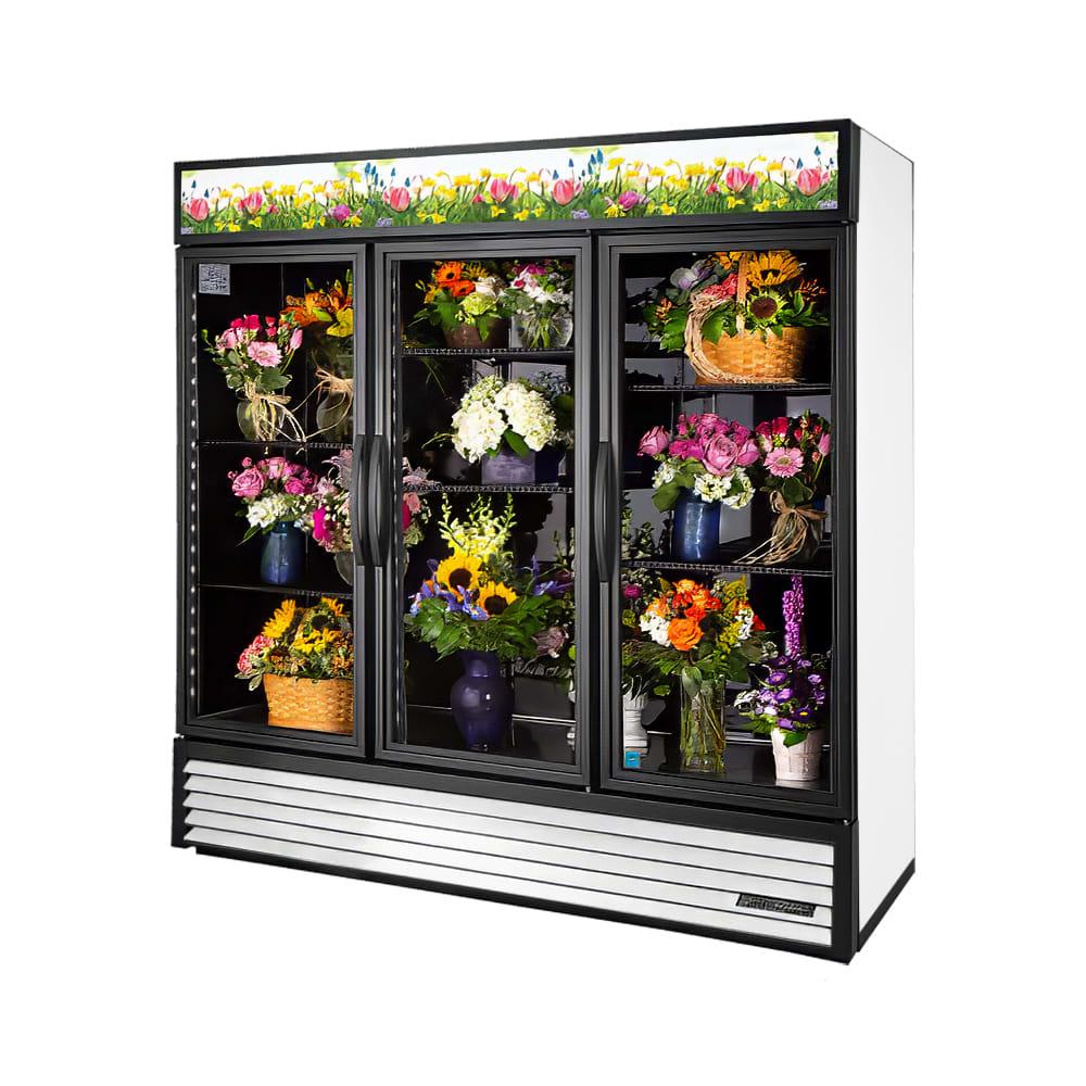 True GDM-72FC-HC~TSL01  3 Section Floral Cooler w/ Swinging Door - White, 115v