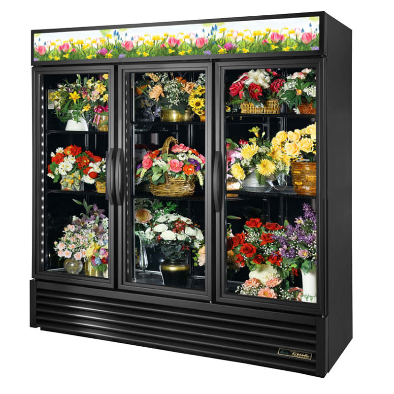 True GDM-72FC-HC~TSL01  3 Section Floral Cooler w/ Swinging Door - Black, 115v