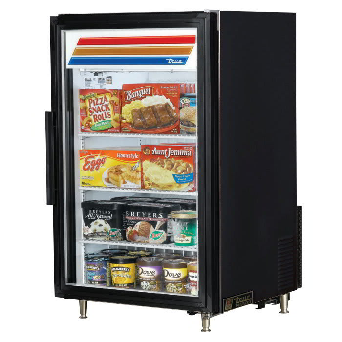 "True GDM-07F-HC~TSL01 24"" One-Section Display Freezer w/ Swinging Door - Rear Mount Compressor, Black, 115v"
