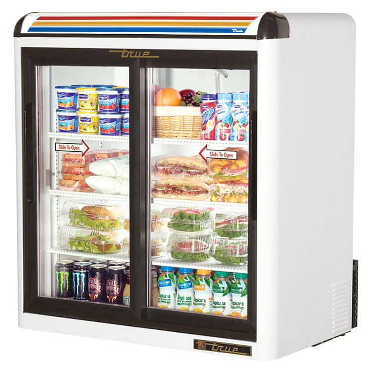 "True GDM-09-LD 36"" Countertop Refrigerator w/ Front Access - Sliding Door, White, 115v"