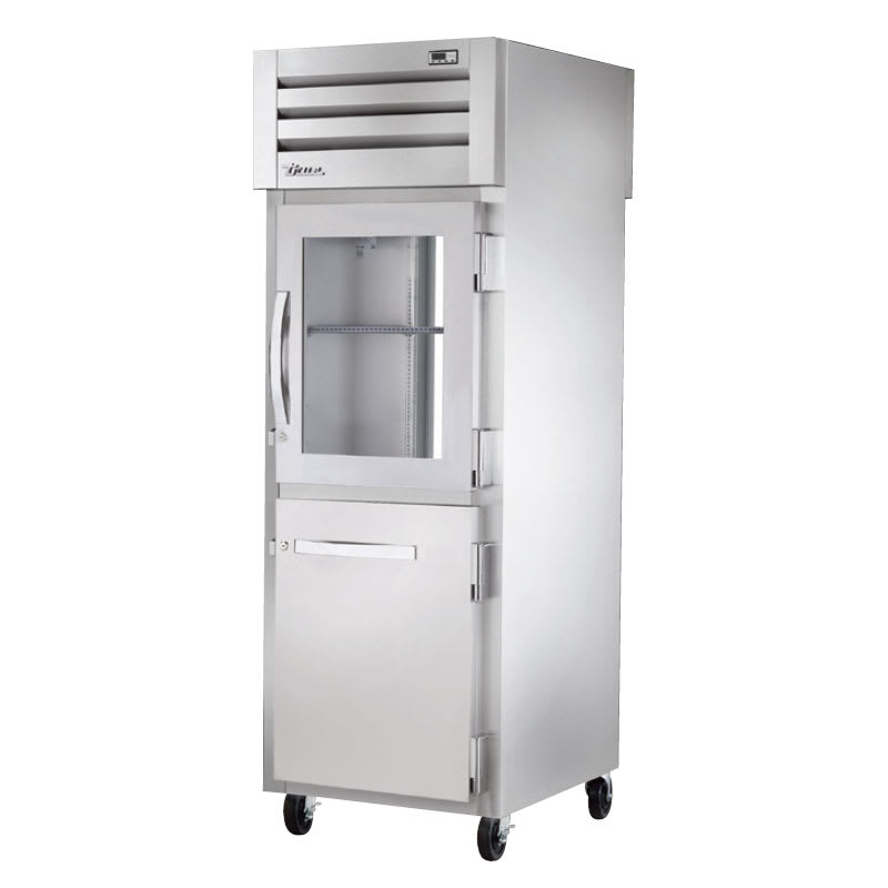 "True STA1RPT-1HG/1HS-1G-HC 27.5"" Single Section Pass-Thru Refrigerator, Half Solid & Half Glass Door, 115v"