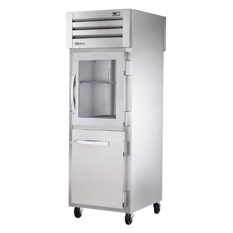 "True STA1RPT-1HG/1HS-1S-HC 27.5"" Single Section Pass-Thru Refrigerator, Half Solid & Half Glass Door, 115v"