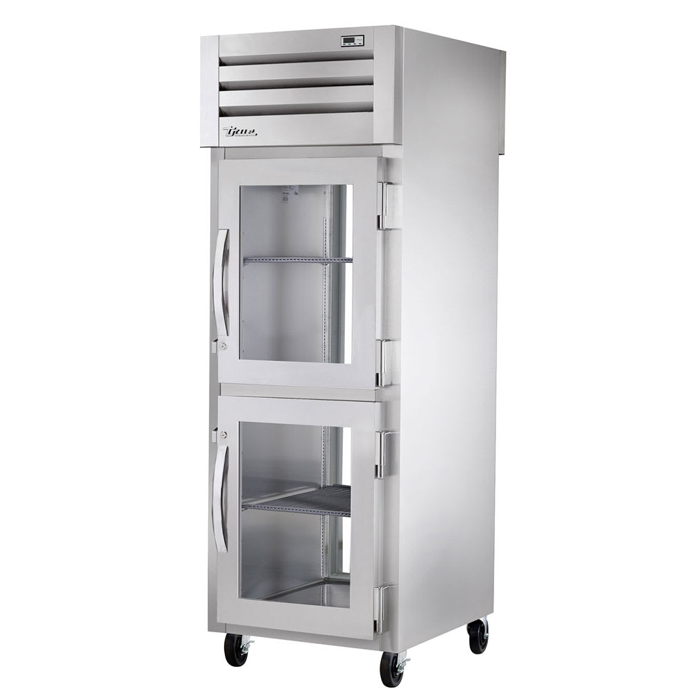 "True STA1RPT-2HG-1G-HC 27.5"" Single Section Pass-Thru Refrigerator, (2) Glass Door, 115v"